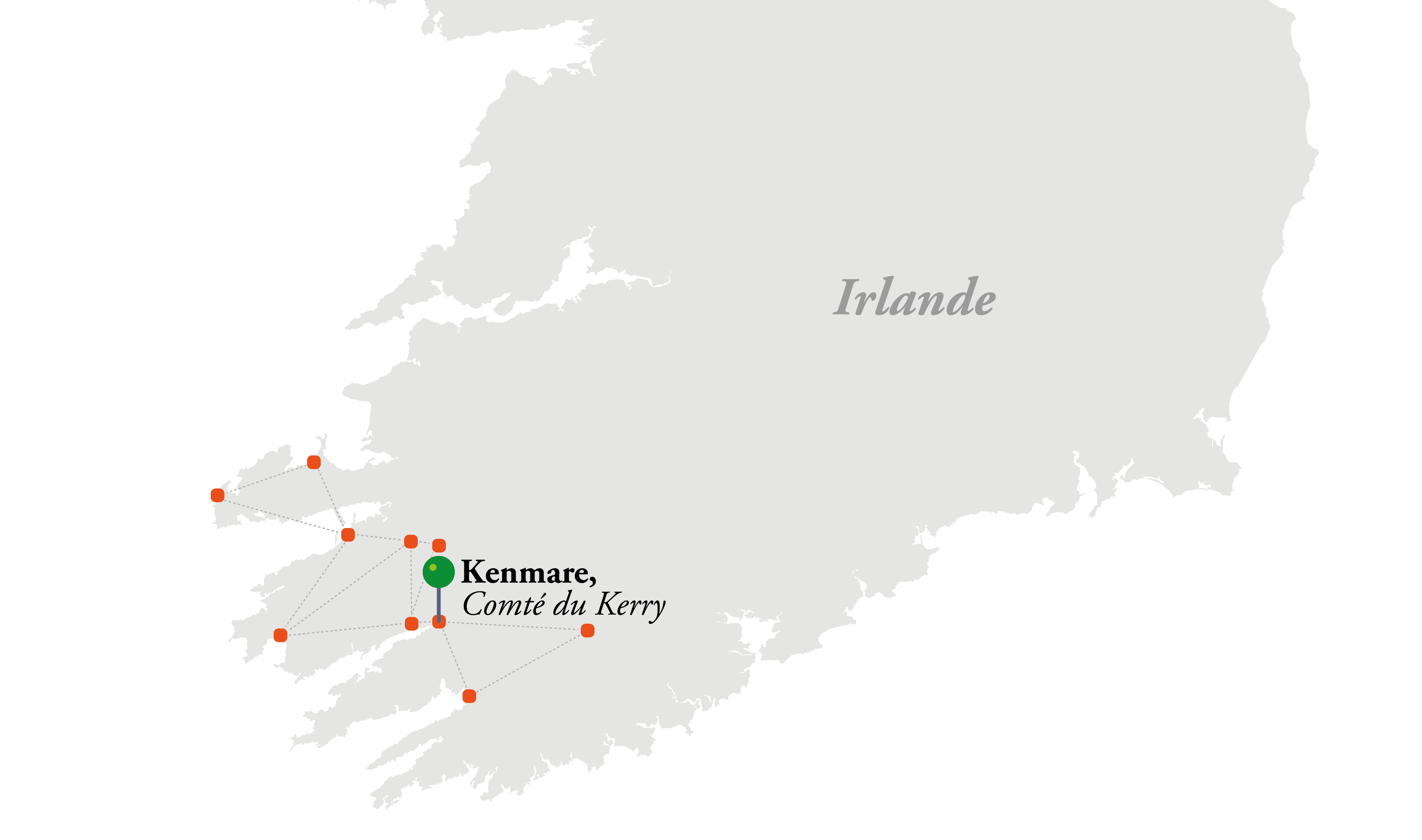 Carte des parcours proposés lors du séjour Irlande Golf pro